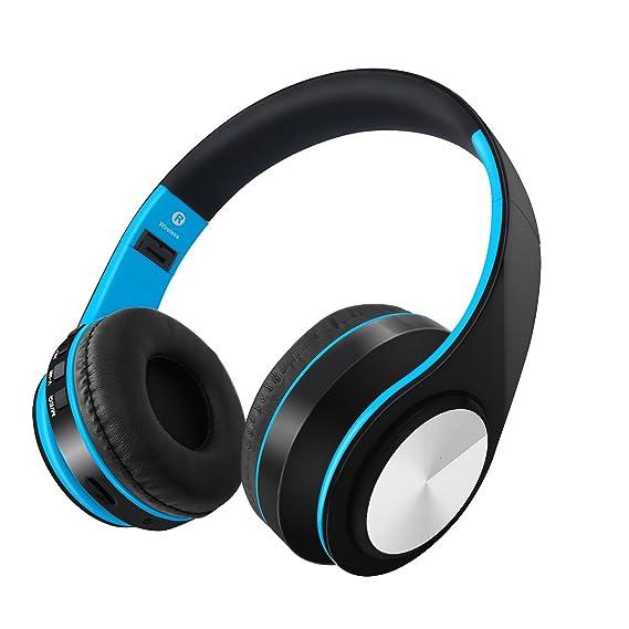 Desxz Bluetooth Headphones Over Ear, Hi-Fi Stereo Wireless Headset, Foldable, Soft