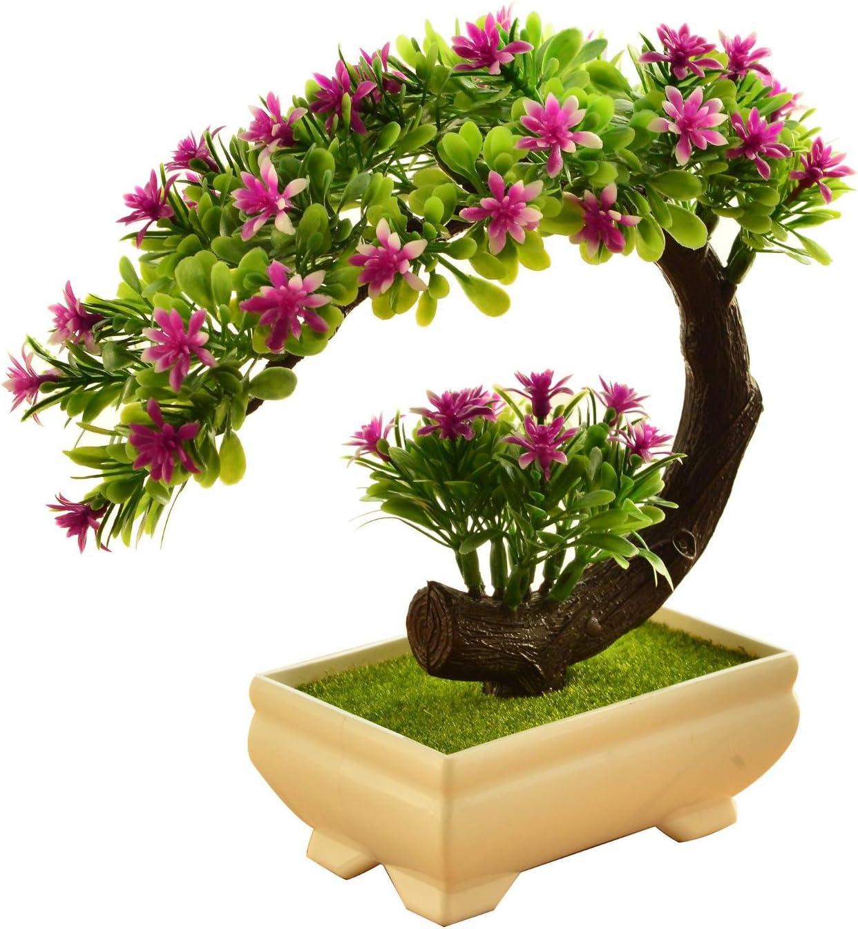 2018decorativa Flores Simulación Artificial Planta Flor árbol verde Algodón olla Salón Mesa plástico Flores. Lucky Feng Shui Decoración (5colores), E