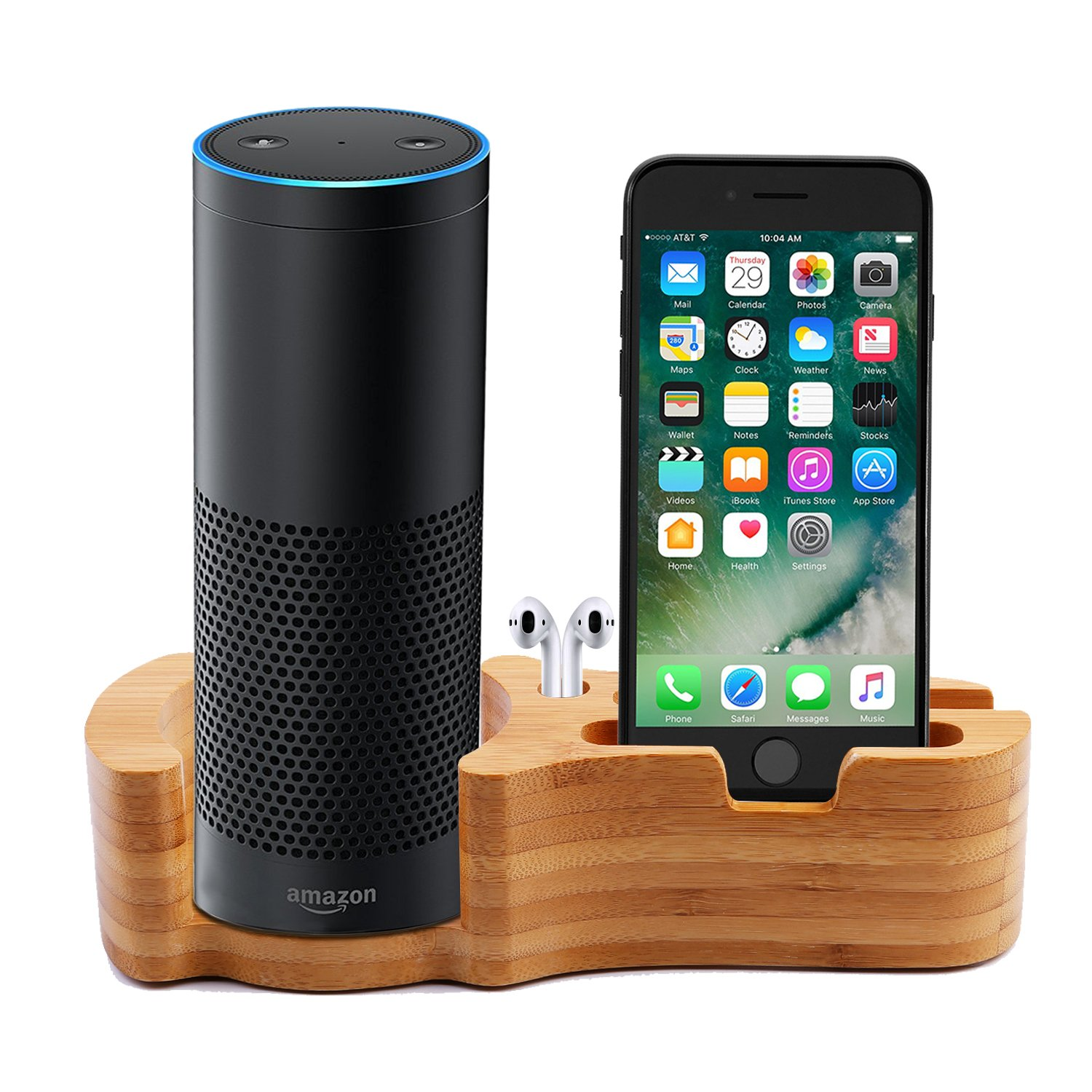 Akwox speaker stand per  Echo/Echo DOT/smartphone, desktop supporto in bambù per iPhone x/Samsung Galaxy S8 desktop supporto in bambù per iPhone x/Samsung Galaxy S8 AK-MT011