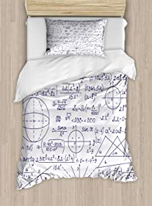 Ambesonne Modern Duvet Cover Set, School Genius Smart Student Math Geometry Science Numbers Formules Image Art, Decorative 2 Piece Bedding Set with 1 Pillow Sham, Twin Size, Dark Purple