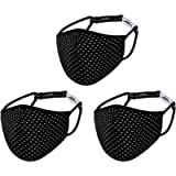 Wulcea 3 Packs Sport Face Mask with Adjustable Strap, Breathable Fabric, Reusable & Machine Washable, Multi-Layer Design