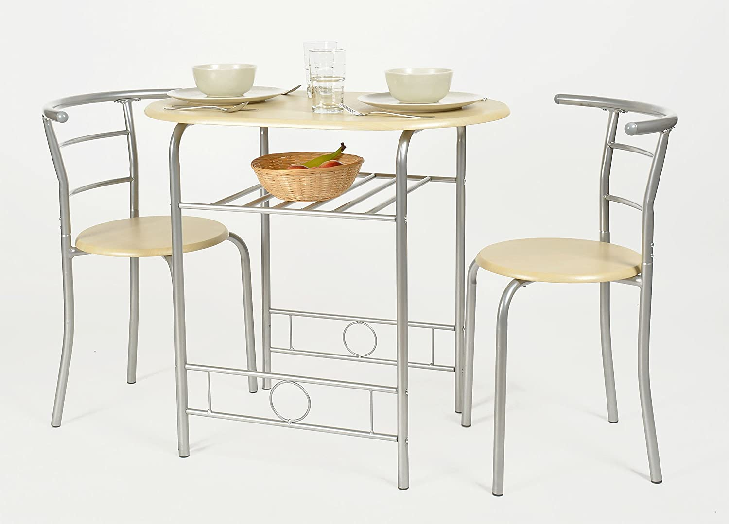 ts-ideen Set 3 Pieces kitchen Table plus 2 Chairs Aluminium and MDF ...