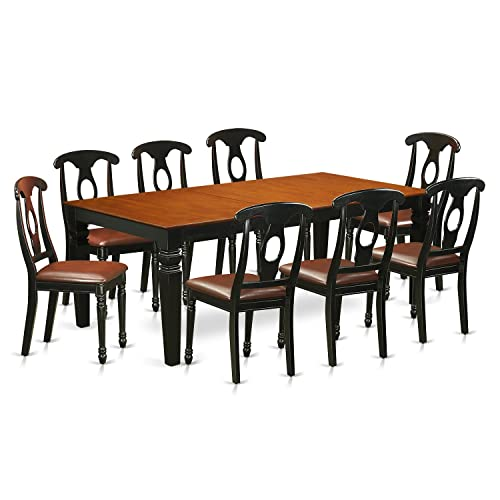 East West Furniture LGKE9-BCH-LC 9 Pc Table and Chair Set with a Dining Table and 8 Dining Chairs in Black and Cherry