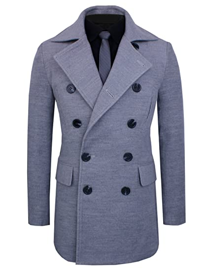 f7117739a3 HRYfashion Mens Trendy Stretch Wool Blend Double Breasted Pea Coat