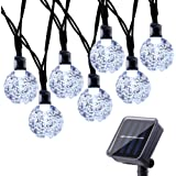 Qedertek Solar Fairy String Lights, 30 LED 8 Lighting Modes Crystal Ball Solar Garden Lights, Perfect for Outdoor, Fence, Lawn, Yard, Balcony, Home, Party Decorations (White)
