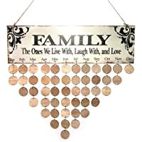 ROSENICE Family Birthday Board Plaque DIY Hanging Wooden Birthday Reminder Calendar with 50pcs Round Discs