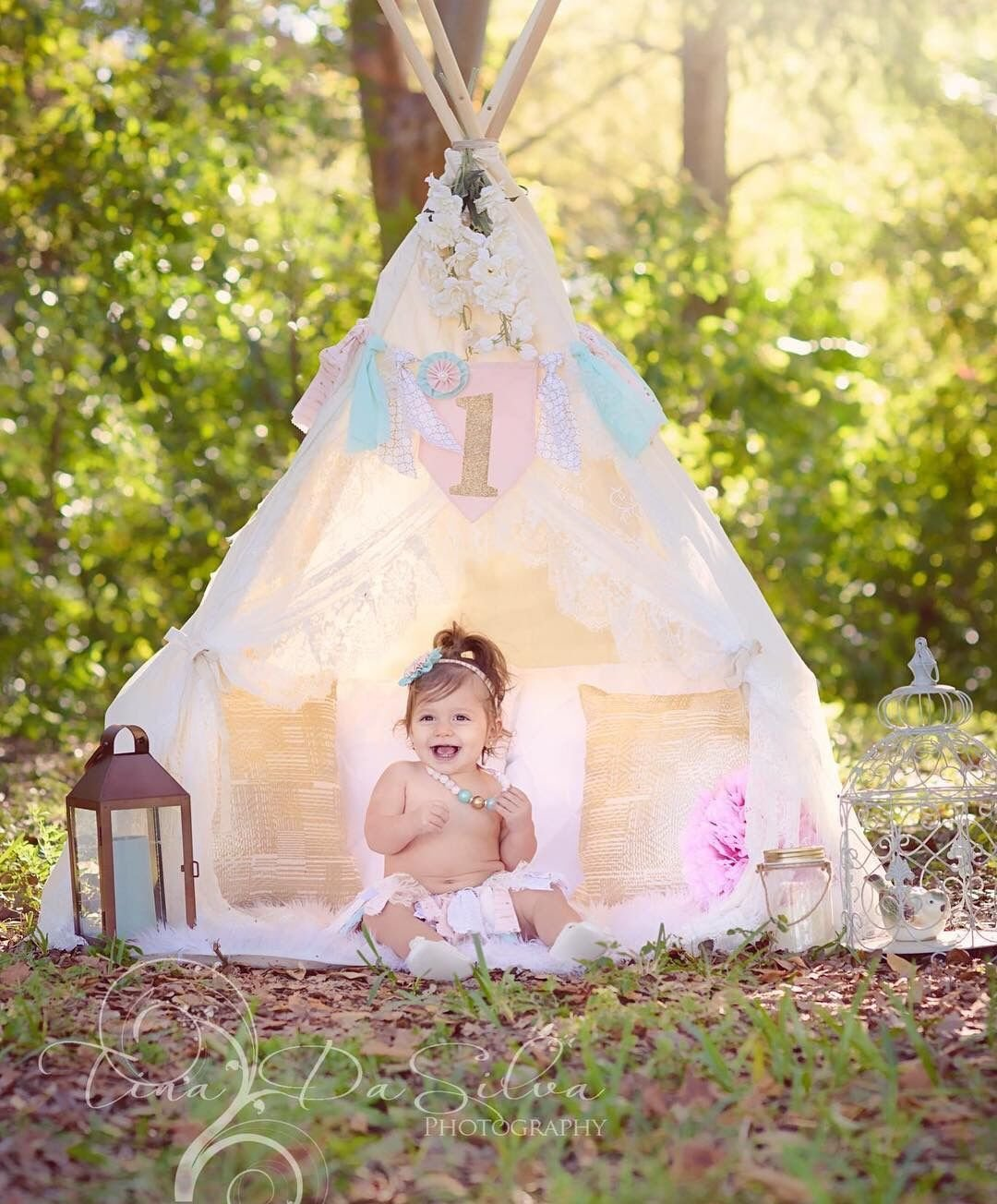 Little Dove Floral Classic Ivory Kids Teepee Kids Play Tent Childrens Play House Tipi Kids Room Decor by little dove (Image #6)