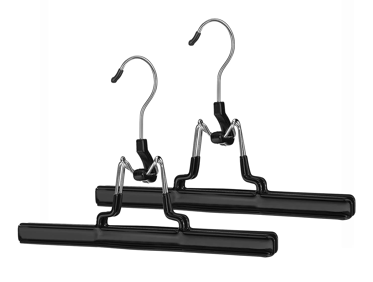 Whitmor 6021-217 Ebony Chrome Skirt and Slack Hanger, Set of 2