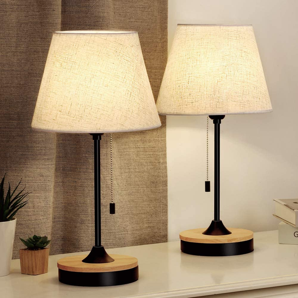 Table Lamp Set of 3, Wood Desk Lamps with Neutral Shade & Soft, Elegant  Black Bedside Lamps, Ambient Lamp for Bedroom Nightstand, Coffee Table,