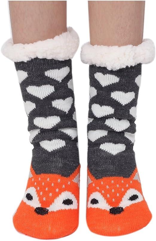 Womens Super Soft Cute Cartoon Animal Fuzzy Cozy Non-Slip Winter Slipper Socks