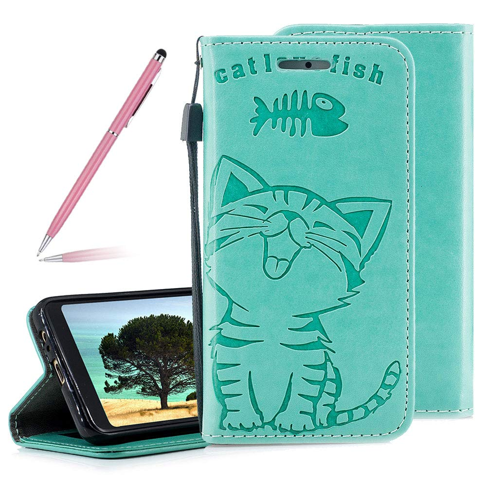 Green 3D Embossed Cat and Fish Pattern Flip Wallet Case for Samsung Galaxy A3 2017// A320 2017,SKYXD PU Leather Magnetic Closure Stand Function Protective Purse Cover with Detachable Wrist Strap