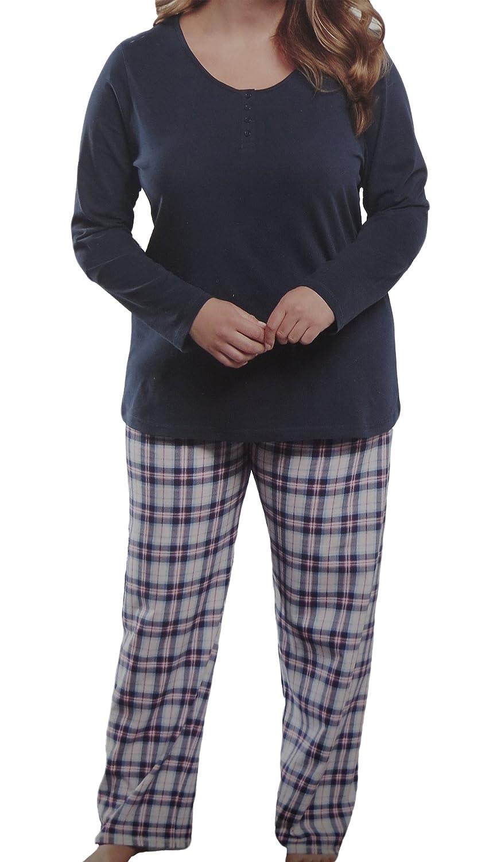 Unbekannt Damen PYJAMA große Mode Schlafanzug 2 Teiler Langarmshirt und Hose Set