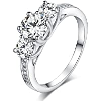 Sreema London 925 Sterling Silver Brilliant Round Cut Crystals Engagement / Wedding Ring