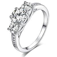 Sreema London 925 Sterling Silver Brilliant Round Cut Crystals Engagement / Wedding Ring