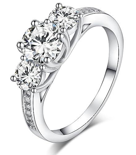 fashion style sconto speciale di come acquistare Sreema London - Fedi, anelli di fidanzamento in argento 925, con brillanti  cristalli, taglio rotondo