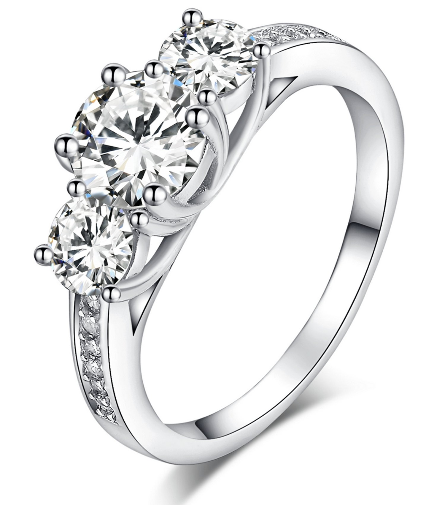 Sreema London 925 Sterling Silver Brilliant Round Cut Crystals Engagement/Wedding Ring (R)