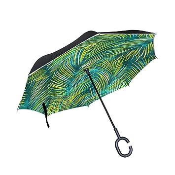 OKONE - Paraguas invertido de Apertura automática Compacto y Ligero, Recto, con Hoja de