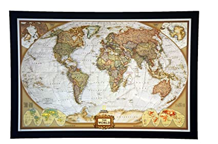 Amazon the 1 selling push pin map of the world nat geos the 1 selling push pin map of the world nat geos executive world map framed gumiabroncs Images