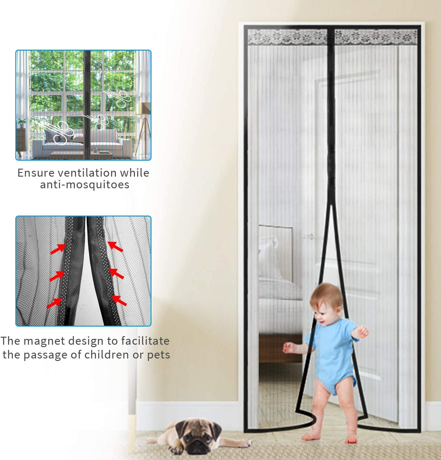 for Balcony Sliding Living Room Childrens Room White Lace 90 x 210 cm TSYMO Fly Screen for Doors Magnetic Net Mosquito Insects Mesh Curtain