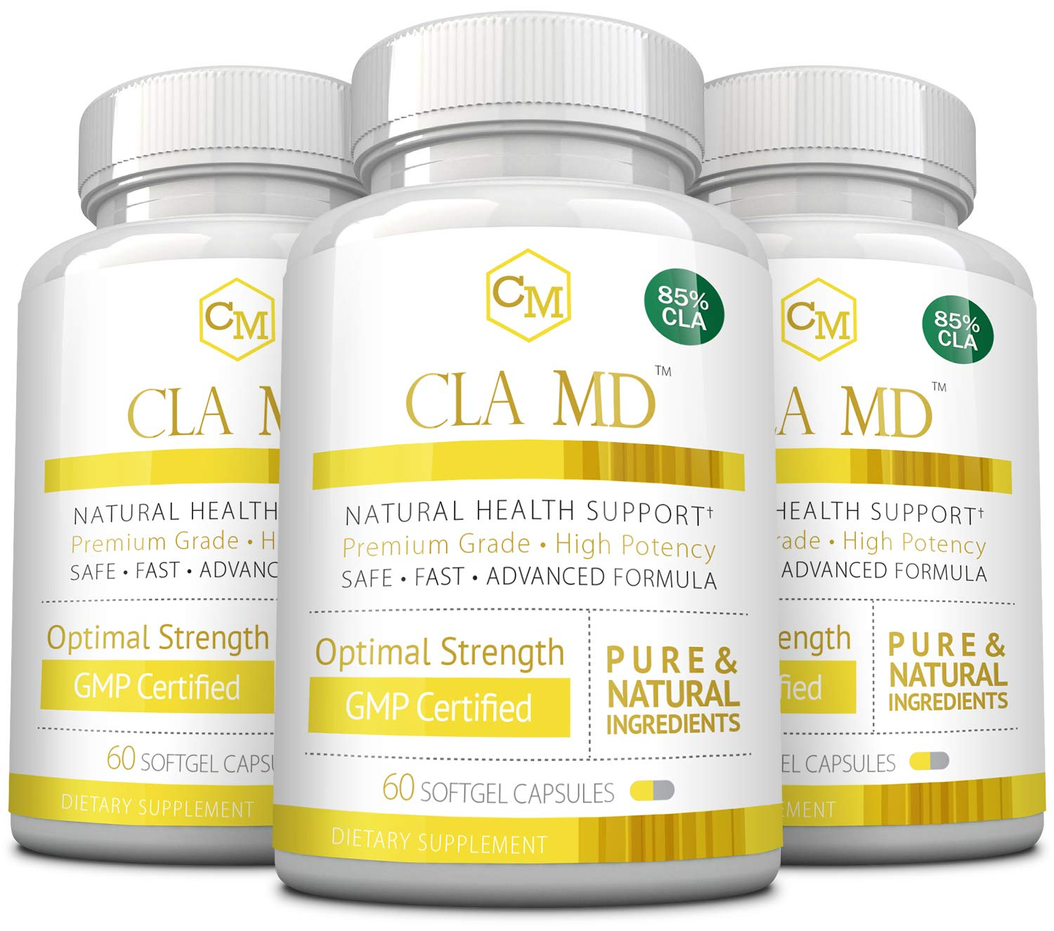 CLA MD - with 85% CLA - Activate & Boost Metabolism, 180 Capsules - 3 Bottles