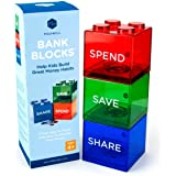 Save Spend Share Piggy Bank for Kids - Clear Transparent Plastic Coin Banks for Boys & Girls - Teach Children About…