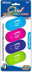 BAZIC Erasers, Bright Color Oval Eraser (4/Pack) Latex Free, Large Size Block Erasers for Art Drawing School Office Kids Teachers, 1-Pack