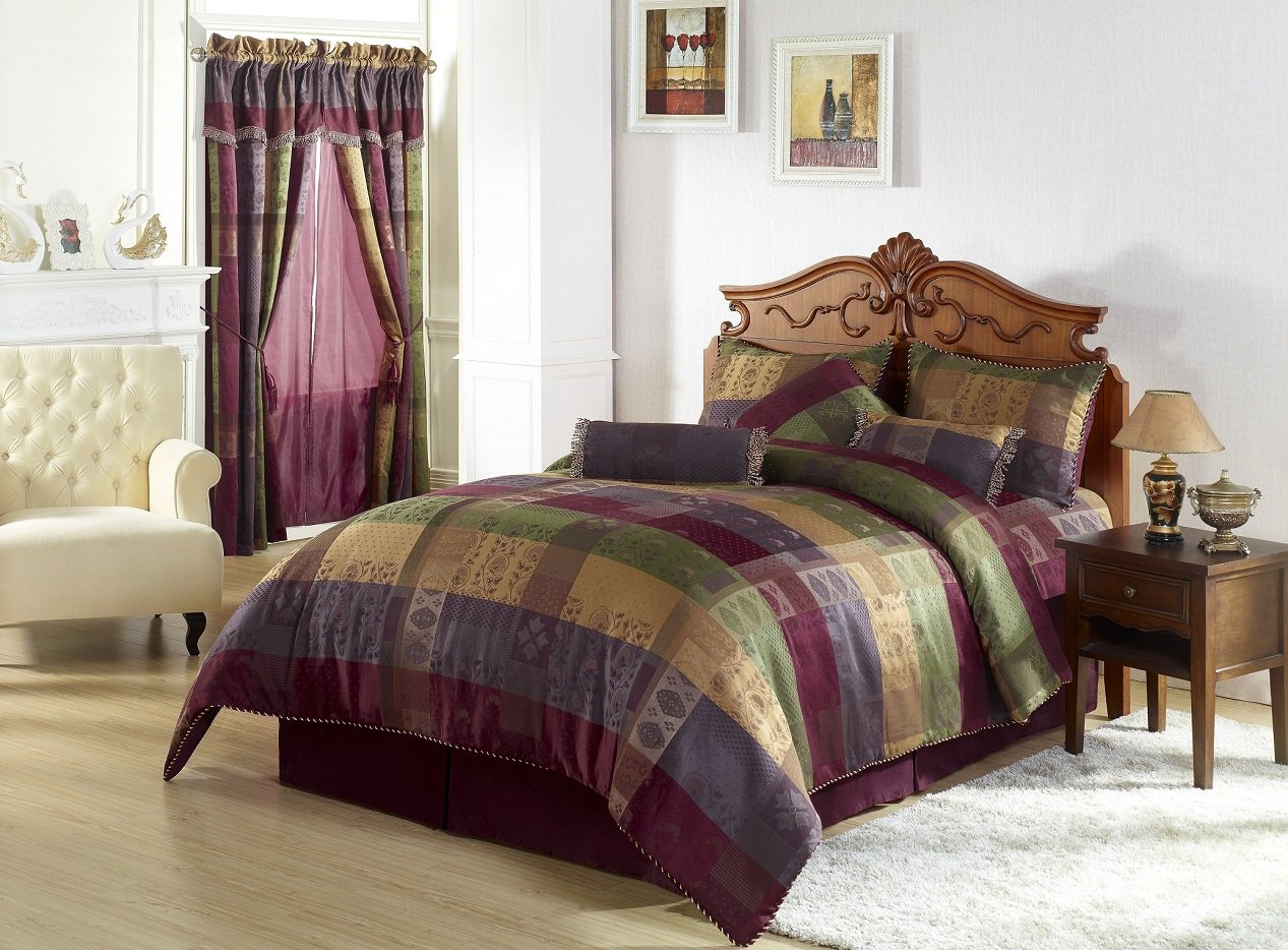Elegant Chezmoi Collection Gitano Jacquard Patchwork Piece Bedding Set King Multi Color