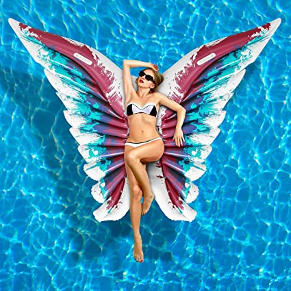 Amazon.com: iBaseToy Flotador hinchable de piscina, alas de ...