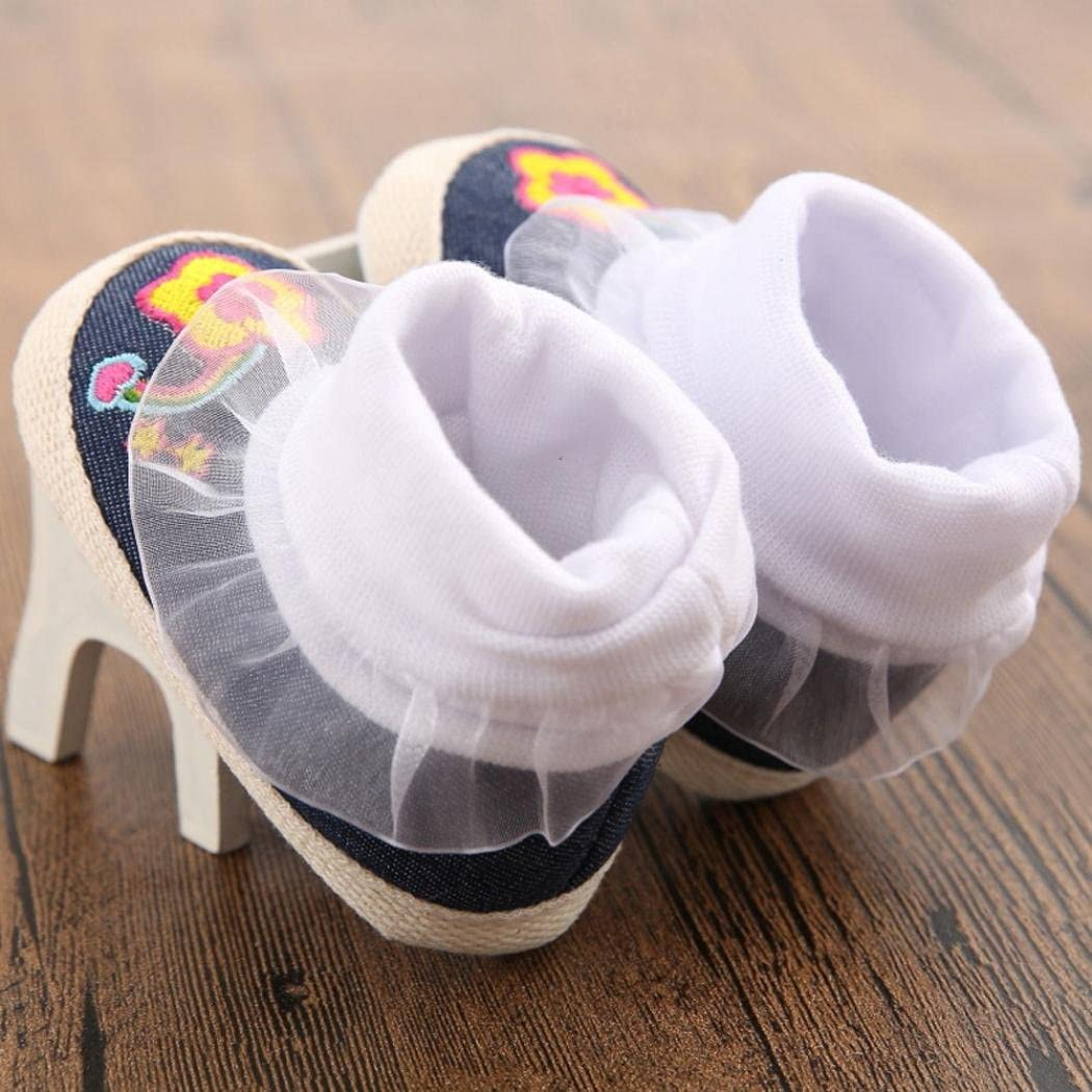 Gotd Baby Girls Flower Star Denim Snow Boots Soft Sole Crib Shoes