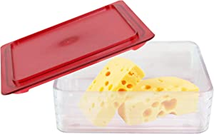 HOME-X Cheese Keeper, Food Storage Container with Lid, Fridge Organizer Containers, 6 ¼