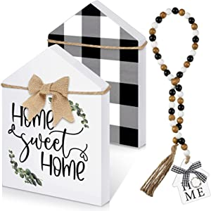 2 Pieces Home Decoration Set Double-Sided Home Sweet Home Sign Black and White Wood Bead Garland with Tassels House Shaped Buffalo Plaid Sign Modern Decor Farmhouse for Home Festival
