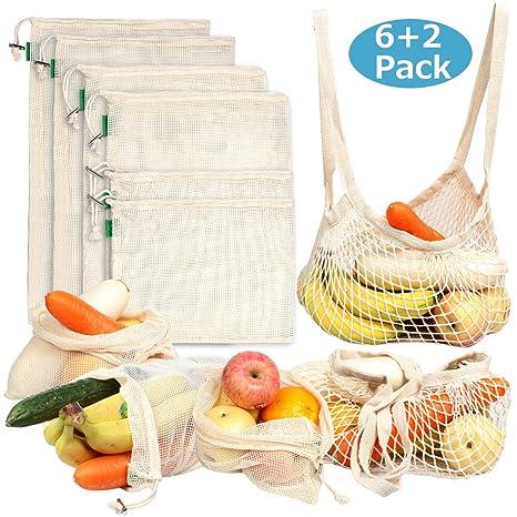 AivaToba 8*PCS Bolsas de Compra Reutilizables, Bolsas de Fruta de Algodon Organico