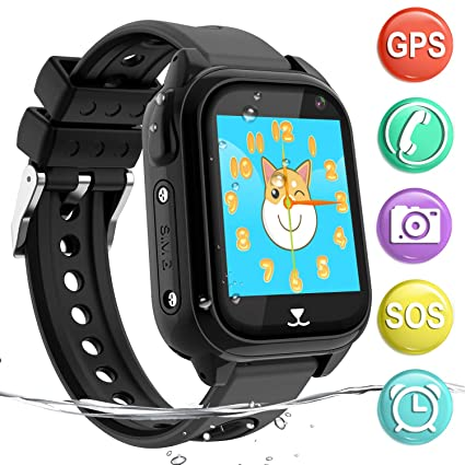 Kids GPS Smartwatch Phone IP67 Waterproof, Boys Girls Watch with GPS Locator 2Way Call SOS Voice Chat Camera Pedometer Alarm Clock Sport Watch Gift ...