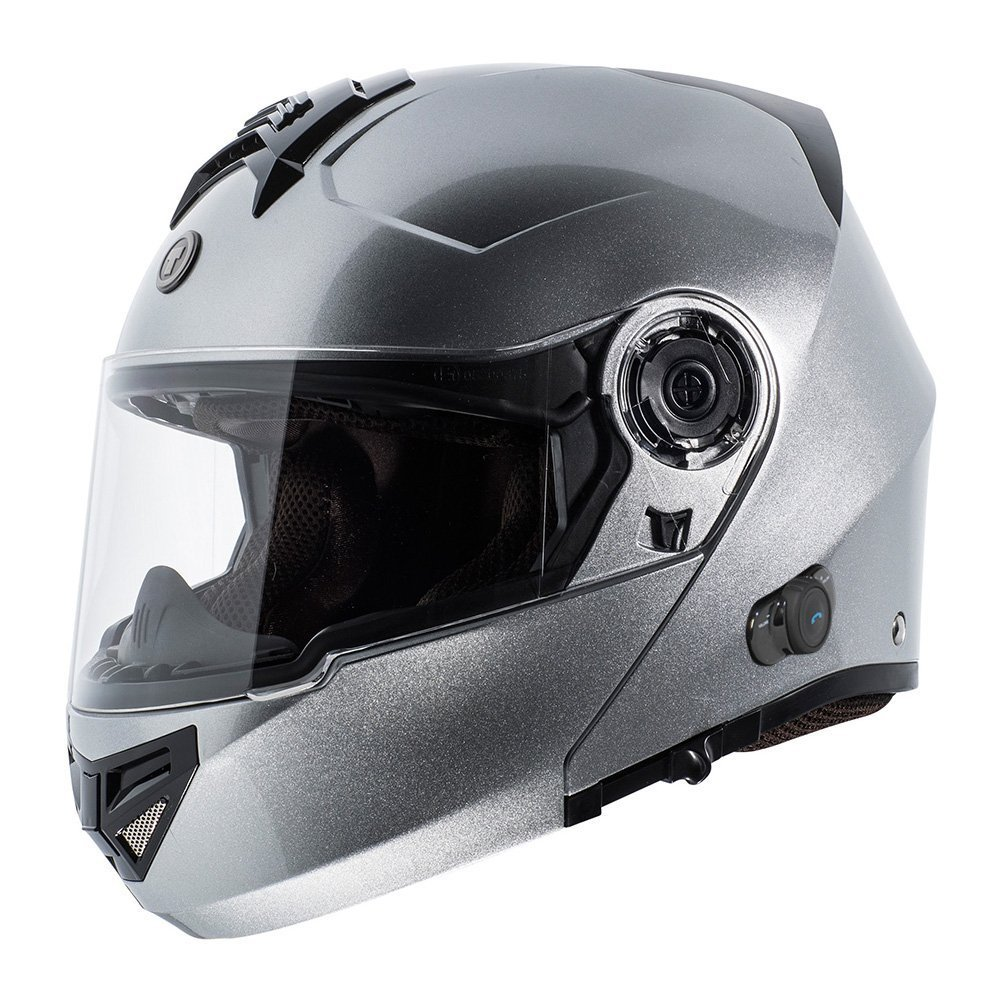 ead597bb TORC T27 Full Face Modular Helmet with Integrated Blinc Bluetooth (Silver,  X-Small)