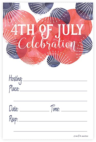 Amazoncom 4th of July Party Invitations Fill In Style 20 Count