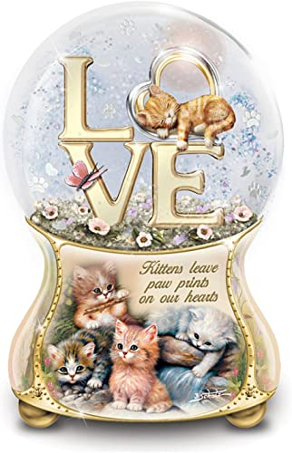 The Bradford Exchange Jurgen Scholz Kittens Leave Pawprints On Our Hearts Hand-Painted Glitter Globe