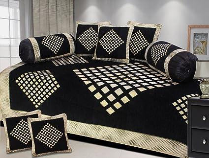 Fresh From Loom 500 Tc Premium Chenille Geometric Brown Diwan Set - 8Pc Set, Black