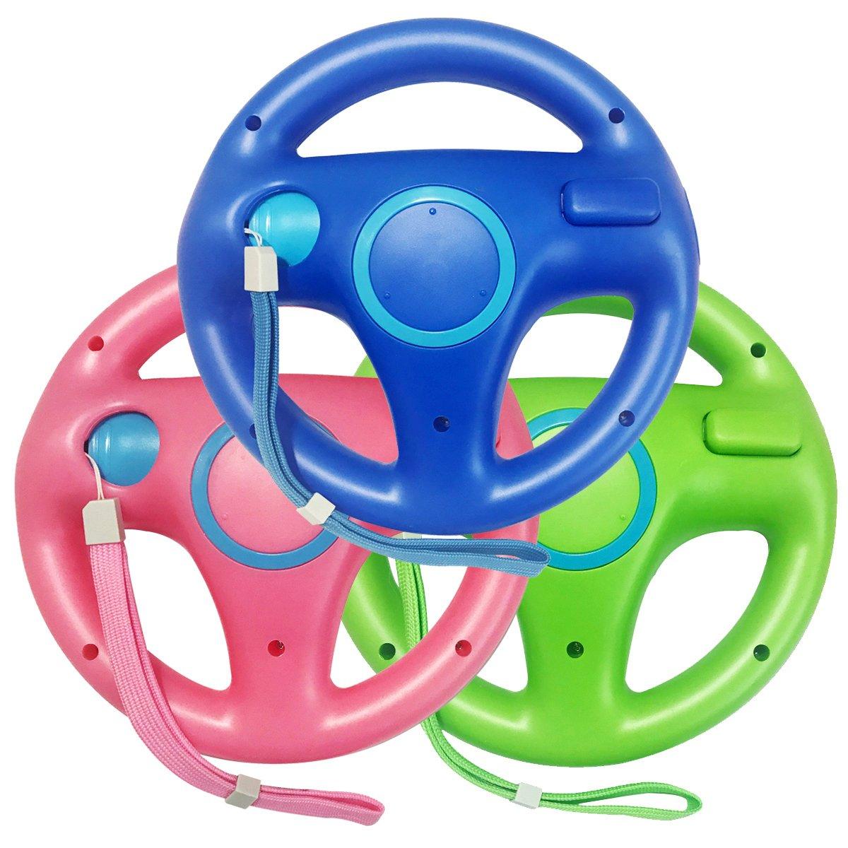 Jadebones 3pcs Blue Pink Green Mario Kart Steering Wheel With Wrist Strap for Nintendo Wii