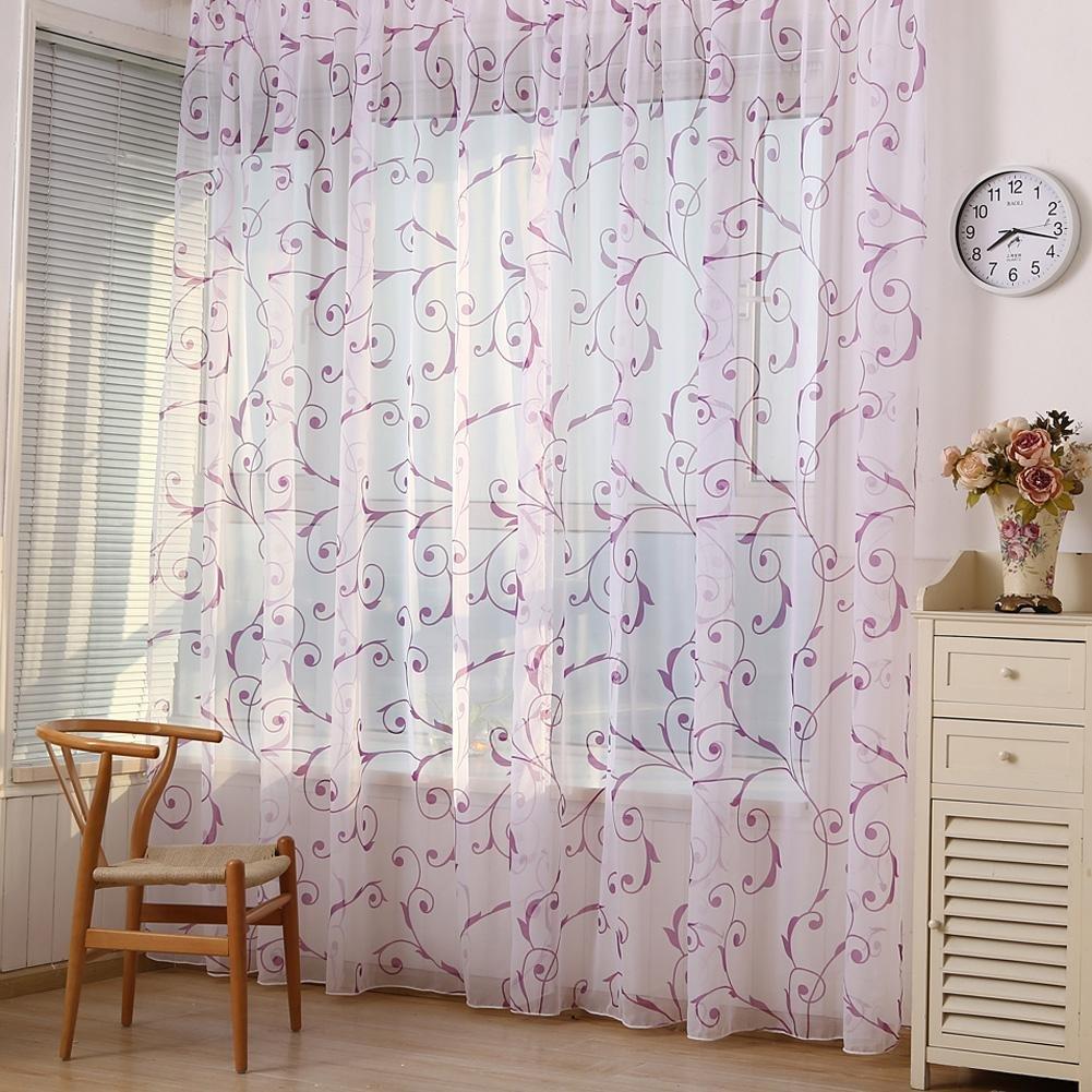 PB PEGGYBUY Cortina de ventana cortinas para sal/ón y dormitorio Cortina de gasa floral para ventana de tul