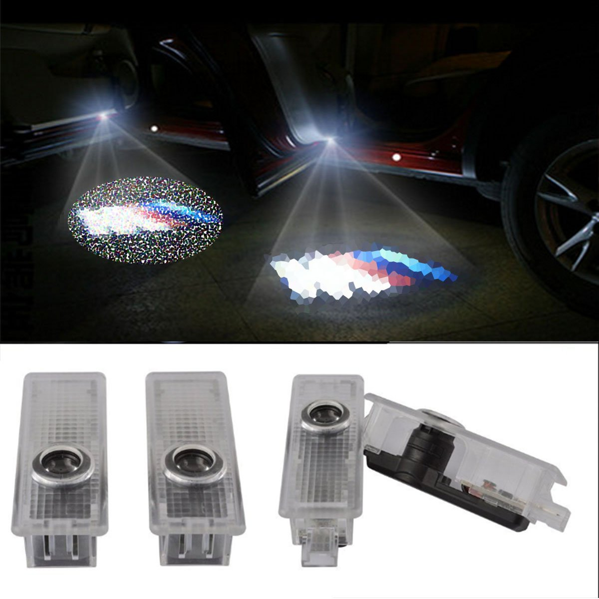 CNAutoLicht 4X M logo ///M logo Cree LED Door Step Courtesy Light Welcome Light For BMW 7-Series E65 E66 E67 F01 F02 F03 4-Series F32 F33 F83 X1 X3 X4 X6 Z4 GT-Series Laser Shadow Logo Projector Lamp