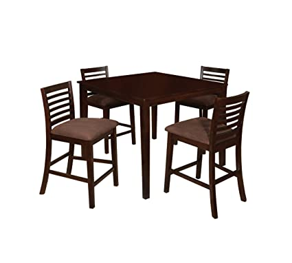 Furniture Of America Ramone 5 Piece Counter Height Dining Table Set,  Espresso Finish