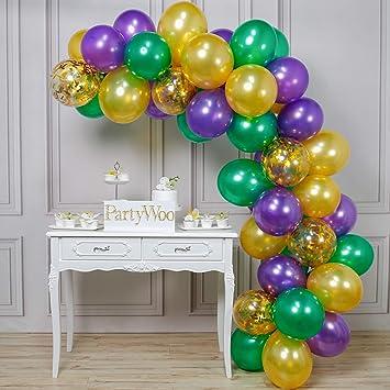 Amazon.com: PartyWoo - Globos de oro verde morado (50 ...
