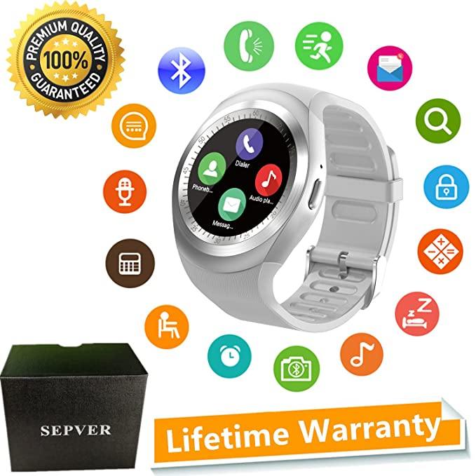 SEPVER Smart Watch Round Bluetooth Smartwatch with SIM Card Slot Compatible with Samsung LG Sony HTC
