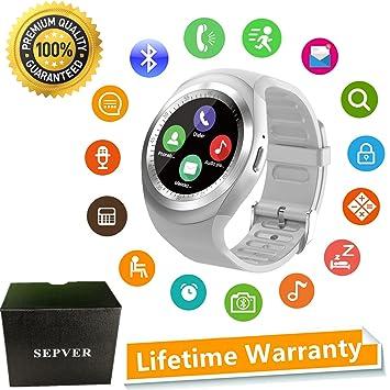 SEPVER Reloj Inteligente Smartwatch para iOS iPhone y Android Hombres Mujeres (Blanco): Amazon.es: Electrónica