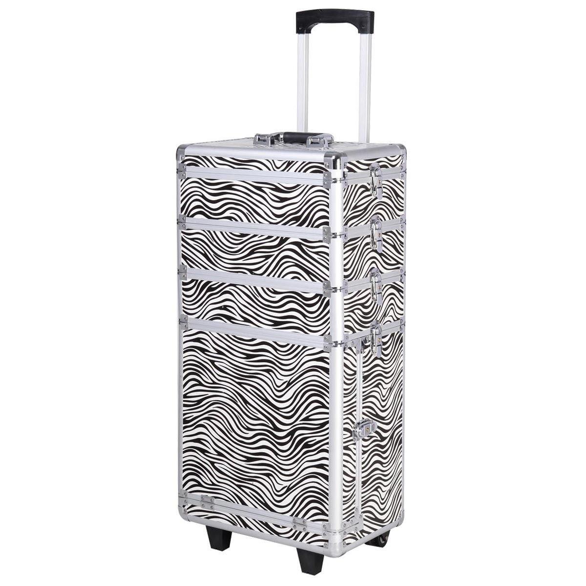Comie 4 in 1 Pro Aluminum Rolling Makeup Case Salon Cosmetic Box Organizer Trolley Train Case Wheeled Artist Travel