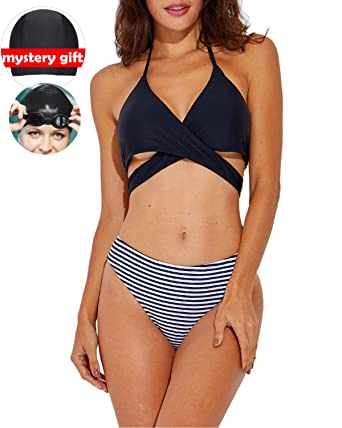 3141507878afd Amazon.com  Ceyue Womens Swimsuits Two Piece Plus Size Swimsuits for Women  Sexy High Waisted Strappy Bikini Sets Bathing Suits  Clothing