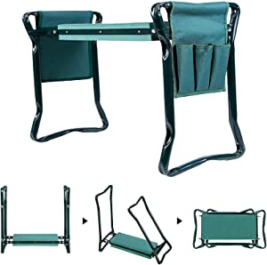 tiezhi Garden Kneeler and Seat, Portable Lightweight Garden Bench with 2 Tool Pouches, 2-in-1 Foldable Garden Bench Garden Stools, Lightweight and Practical - Protect Knees(Green)