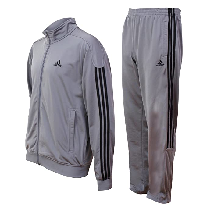 ADIDAS MENS CLASSIC GREY 3 STRIPE RETRO STYLE FULL TRACKSUIT