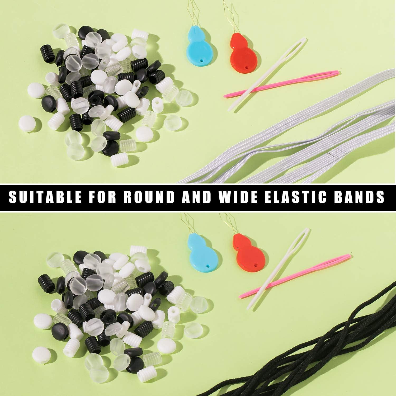 Whaline Lot de 200 boucles rondes en silicone souple avec enfile-aiguille pour adultes et enfants