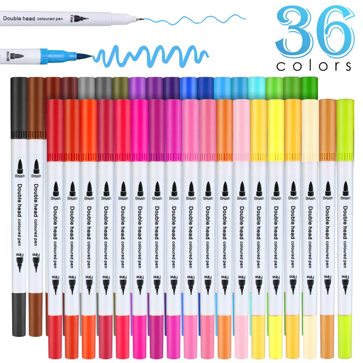 36 Colour Felt Tip Pens Watercolour Marker Pens, BOIROS Double Art Colouring Pens Fine Tip Brush Markers for Adult Students, DIY Card Making, Photo Album Coloring Books Craft Doodling